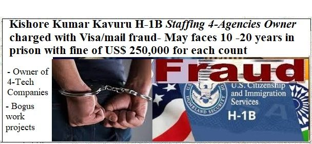 Kishore Kumar Kavuru H1B Staffing charged with Visa fraud